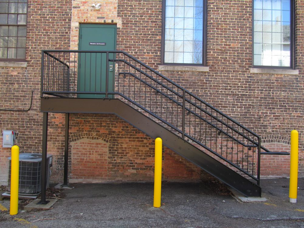 Stair and Guardrail with Bollards